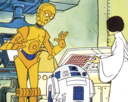The Star Wars Holiday Special 1978 Cartoon C-3PO with Princess Leia, Luke Skywalker, and R2-D2