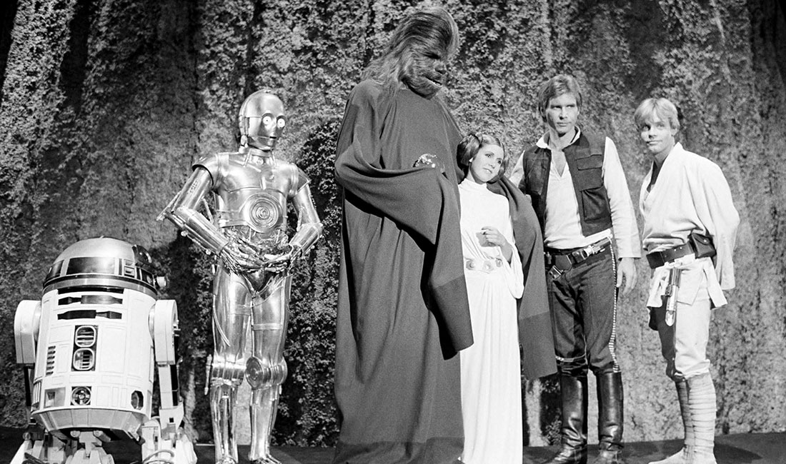 The Star Wars Holiday Special 1978 Luke Skywalker with R2-D2, C-3PO, Chewbacca, Princess Leia, and Han Solo